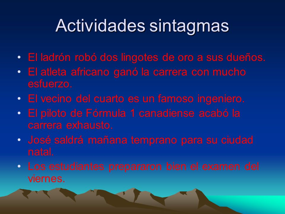 Actividades sintagmas