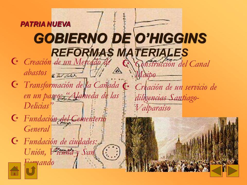 GOBIERNO DE O'HIGGINS REFORMAS MATERIALES