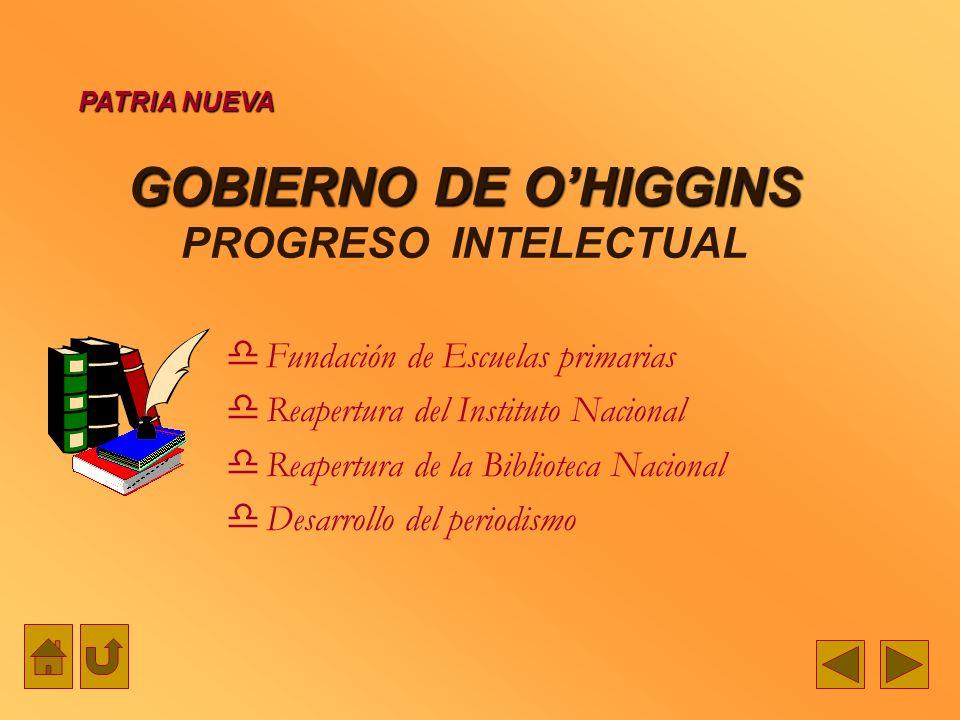 GOBIERNO DE O'HIGGINS PROGRESO INTELECTUAL