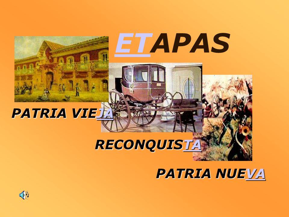 ETAPAS PATRIA VIEJA RECONQUISTA PATRIA NUEVA