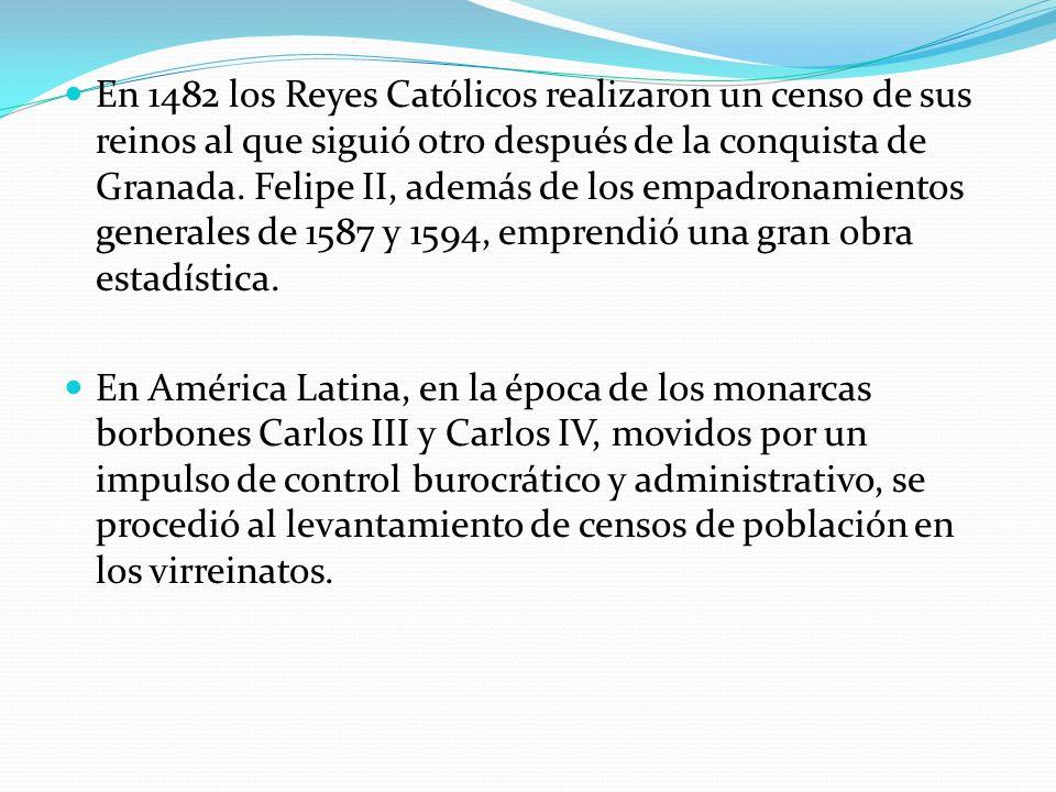 En 1482 los Reyes Católicos realizaron un censo de sus reinos al que siguió otro después de la conquista de Granada. Felipe II, además de los empadronamientos generales de 1587 y 1594, emprendió una gran obra estadística.