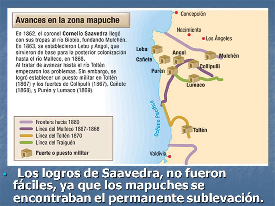 Los logros de Saavedra, no fueron fáciles, ya que los mapuches se encontraban el permanente sublevación.