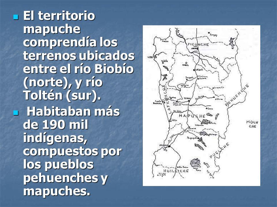 El territorio mapuche comprendía los terrenos ubicados entre el río Biobío (norte), y río Toltén (sur).