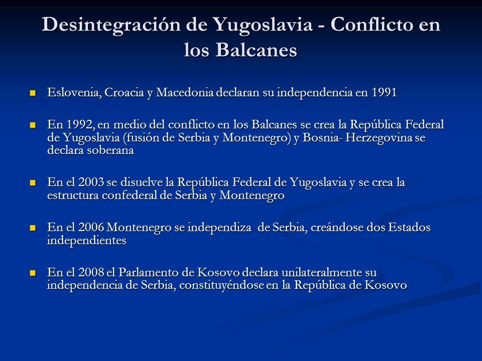 Desintegración de Yugoslavia - Conflicto en los Balcanes