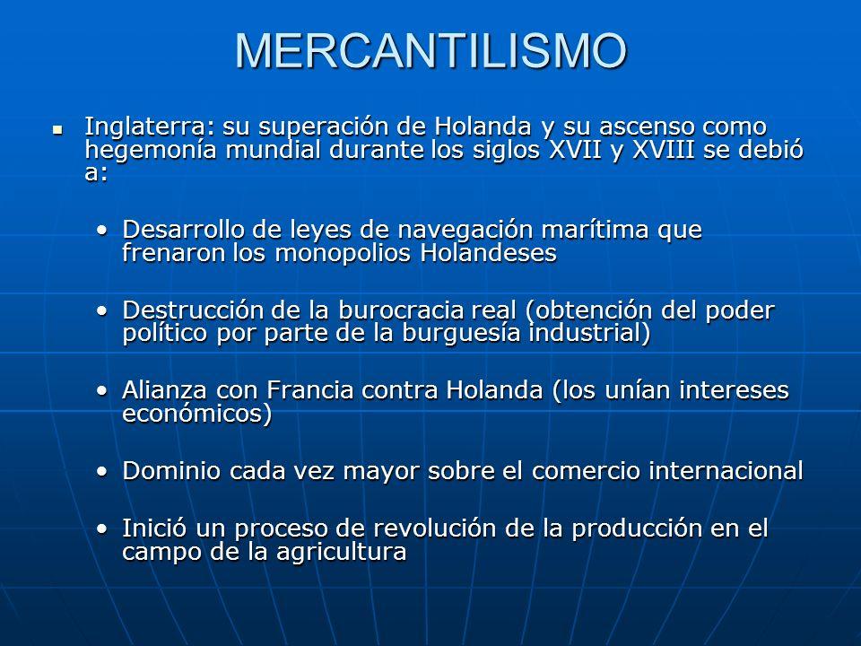 MERCANTILISMO Inglaterra: su superación de Holanda y su ascenso como hegemonía mundial durante los siglos XVII y XVIII se debió a: