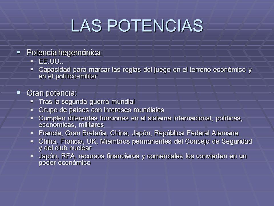 LAS POTENCIAS Potencia hegemónica: Gran potencia: EE.UU..