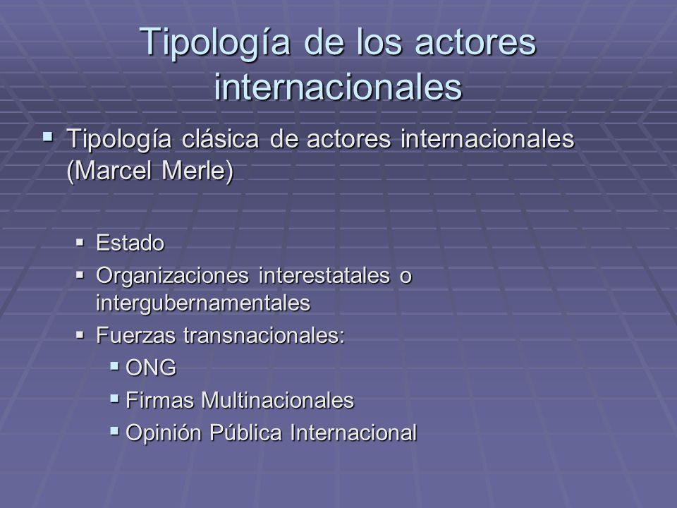 Tipología de los actores internacionales