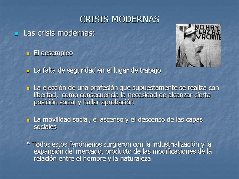 CRISIS MODERNAS Las crisis modernas: El desempleo