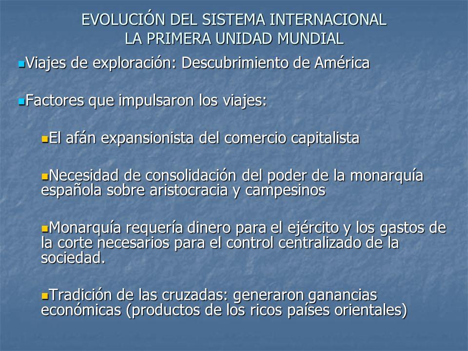 EVOLUCIÓN DEL SISTEMA INTERNACIONAL LA PRIMERA UNIDAD MUNDIAL