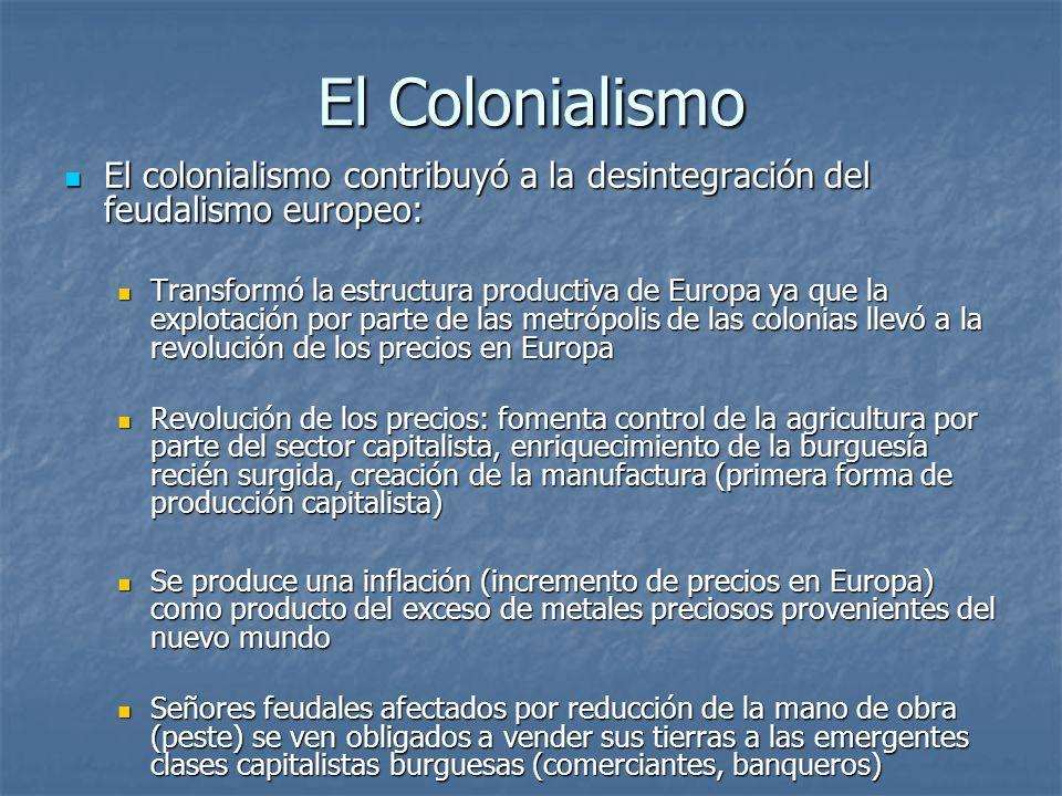 El Colonialismo El colonialismo contribuyó a la desintegración del feudalismo europeo: