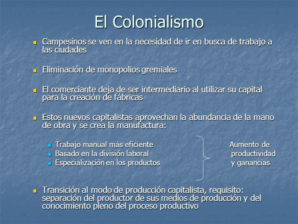 El Colonialismo Campesinos se ven en la necesidad de ir en busca de trabajo a las ciudades. Eliminación de monopolios gremiales.