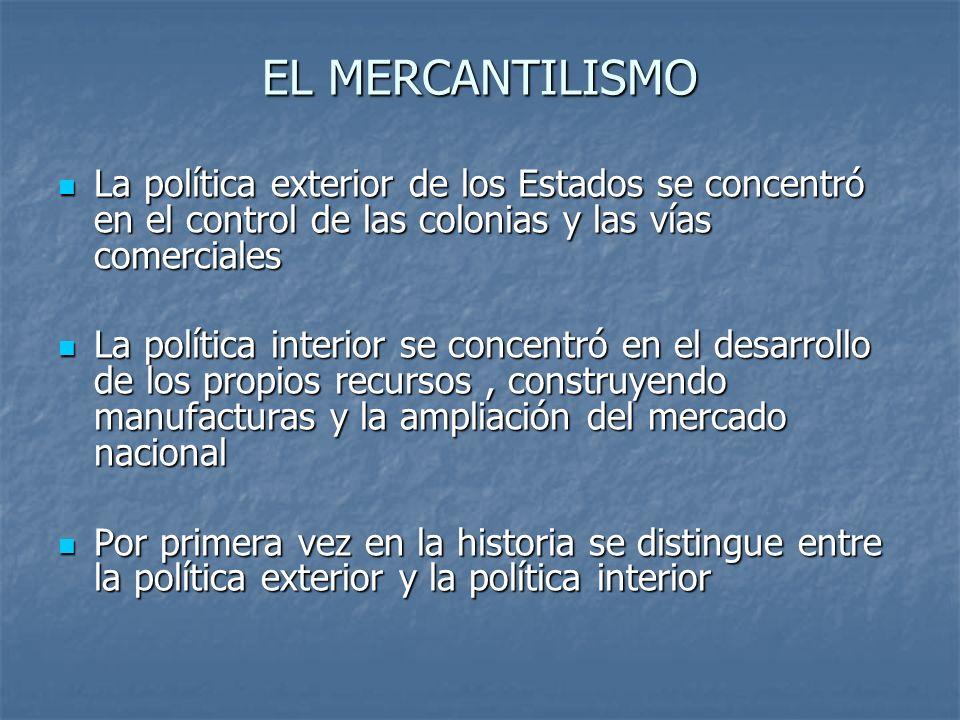 EL MERCANTILISMO La política exterior de los Estados se concentró en el control de las colonias y las vías comerciales.