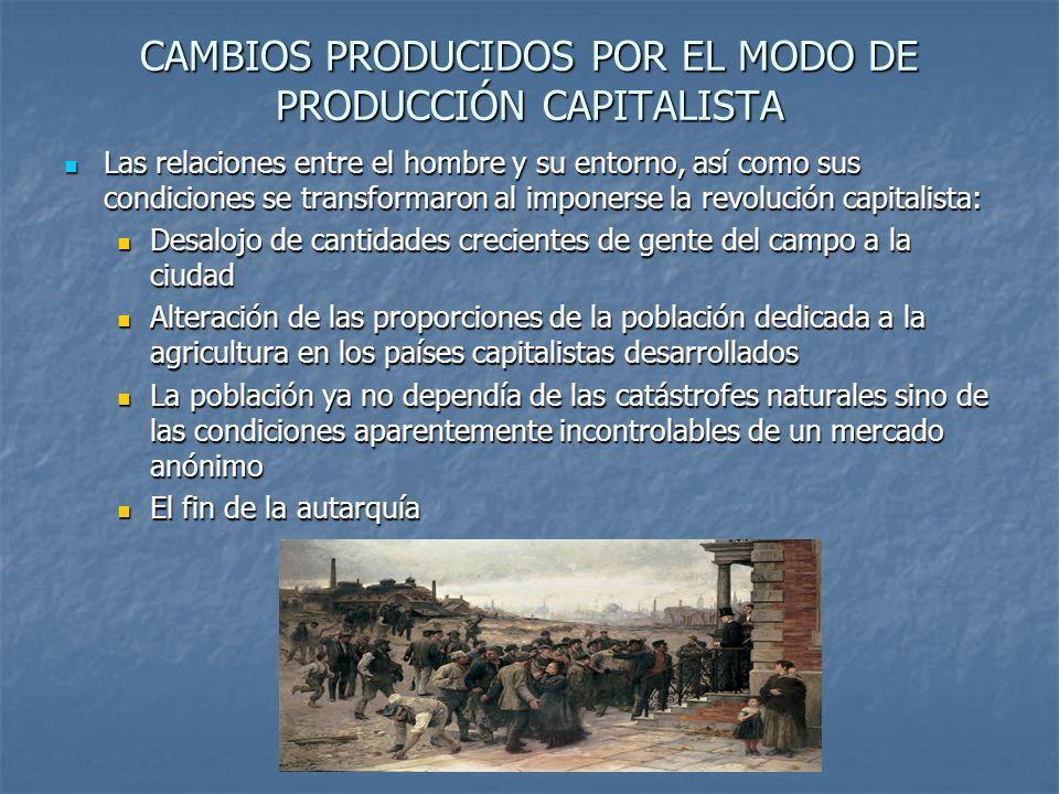 CAMBIOS PRODUCIDOS POR EL MODO DE PRODUCCIÓN CAPITALISTA