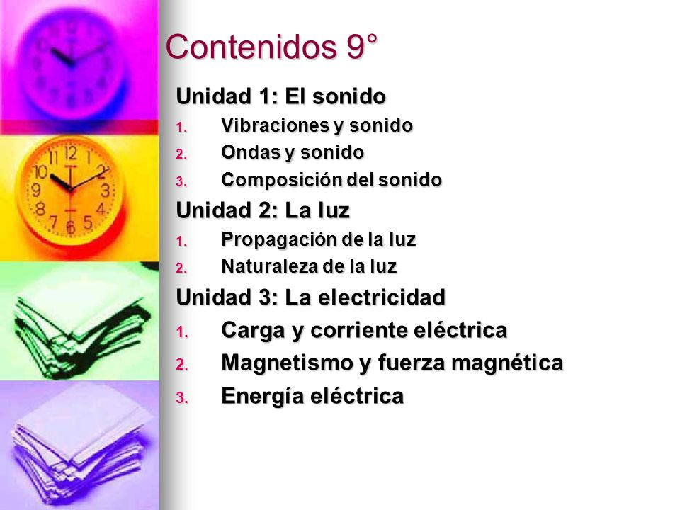 Contenidos 9° Unidad 1: El sonido Unidad 2: La luz
