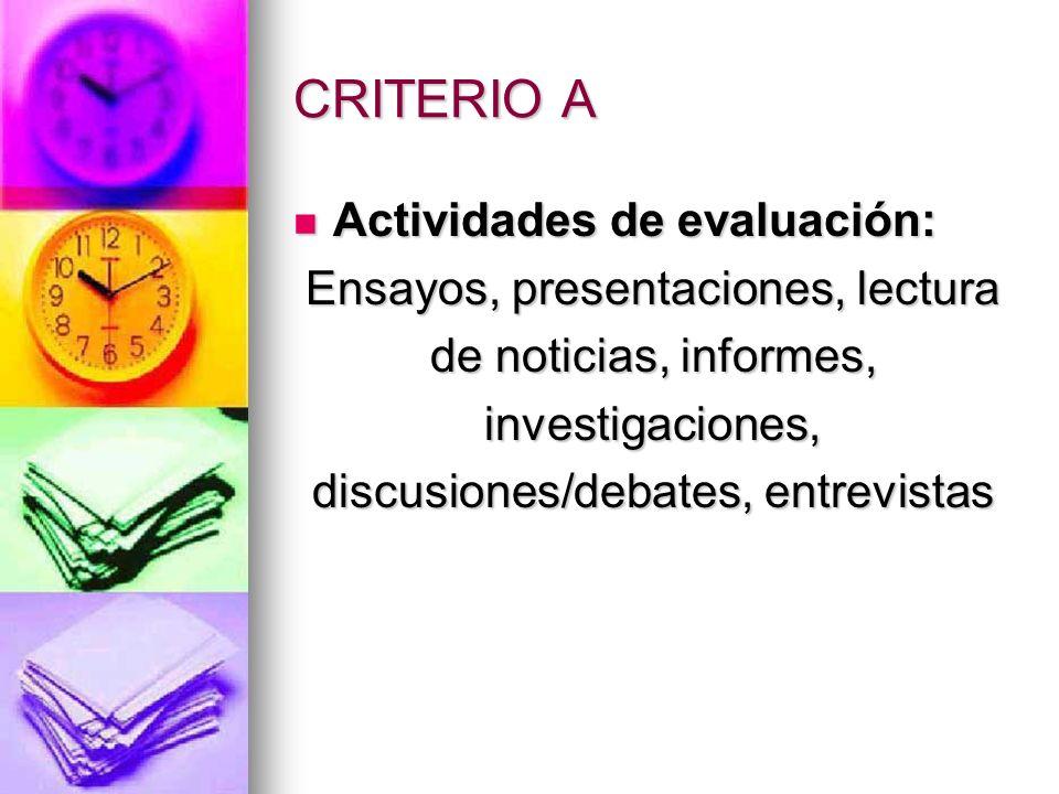 CRITERIO A Actividades de evaluación: Ensayos, presentaciones, lectura