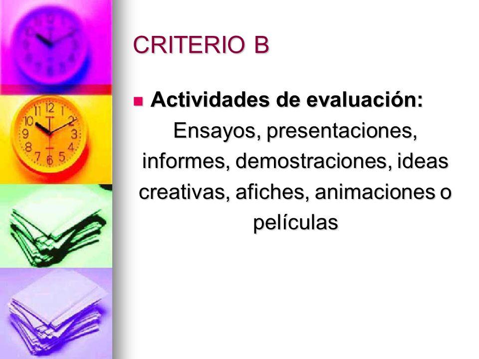 CRITERIO B Actividades de evaluación: Ensayos, presentaciones,