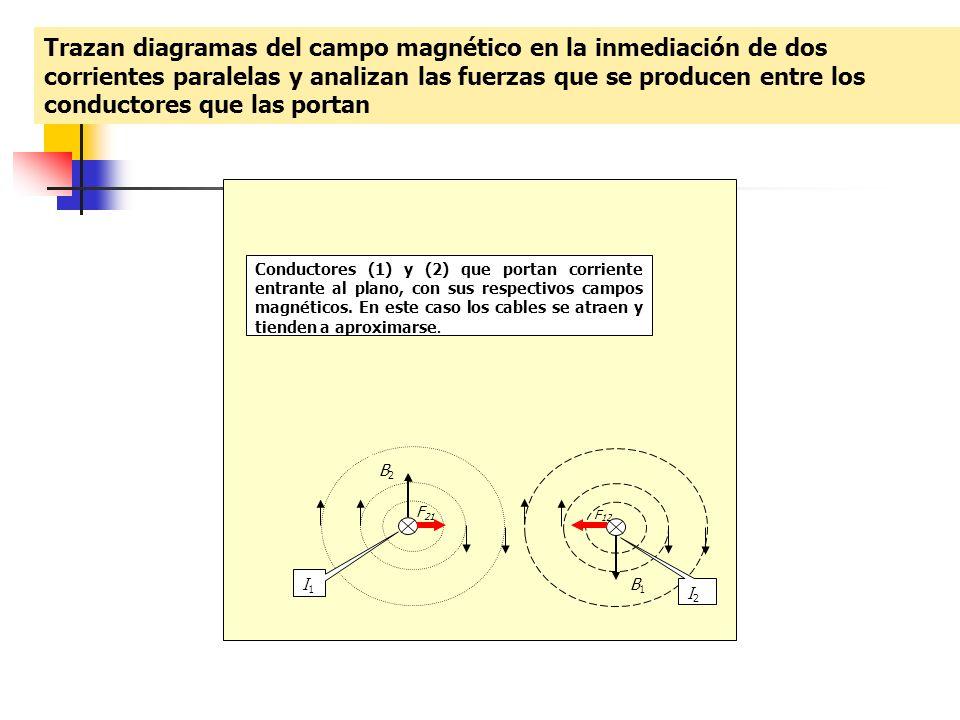 Trazan diagramas del campo magnético en la inmediación de dos corrientes paralelas y analizan las fuerzas que se producen entre los conductores que las portan