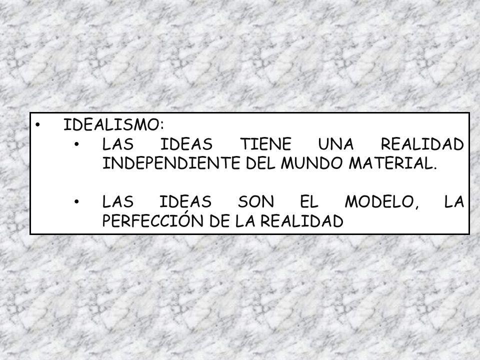 IDEALISMO: LAS IDEAS TIENE UNA REALIDAD INDEPENDIENTE DEL MUNDO MATERIAL.