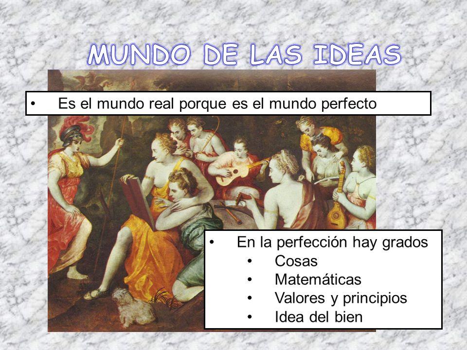 MUNDO DE LAS IDEAS Es el mundo real porque es el mundo perfecto