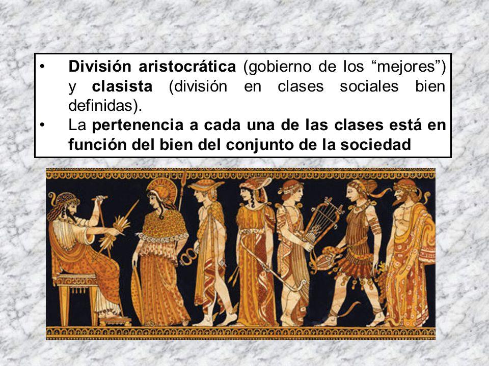 División aristocrática (gobierno de los mejores ) y clasista (división en clases sociales bien definidas).