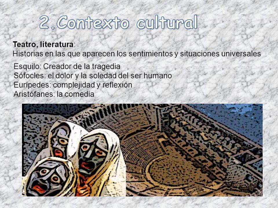 Teatro, literatura: Historias en las que aparecen los sentimientos y situaciones universales. Esquilo: Creador de la tragedia.