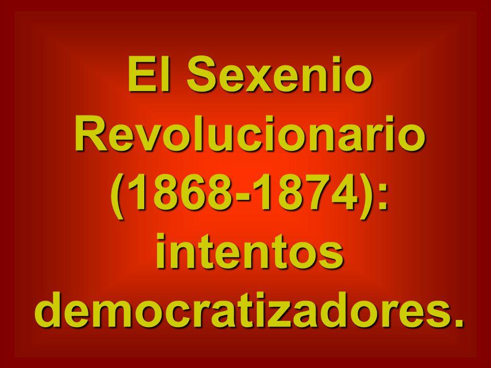 El Sexenio Revolucionario (1868-1874): intentos democratizadores.