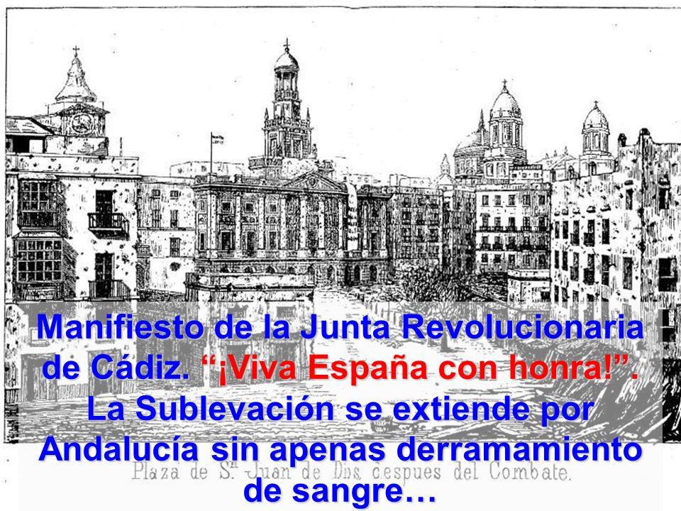 Manifiesto de la Junta Revolucionaria de Cádiz. ¡Viva España con honra! .