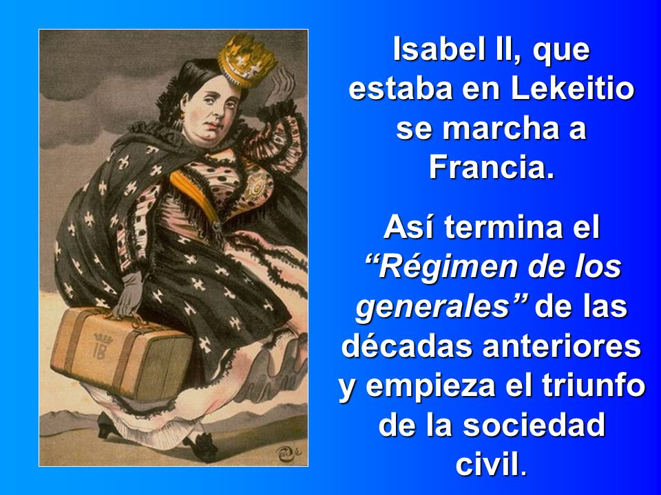 Isabel II, que estaba en Lekeitio se marcha a Francia.