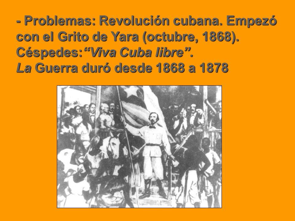 - Problemas: Revolución cubana