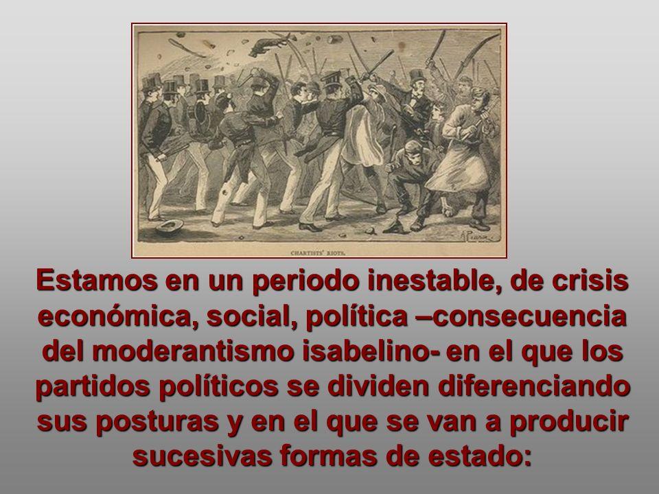 Estamos en un periodo inestable, de crisis económica, social, política –consecuencia del moderantismo isabelino- en el que los partidos políticos se dividen diferenciando sus posturas y en el que se van a producir sucesivas formas de estado: