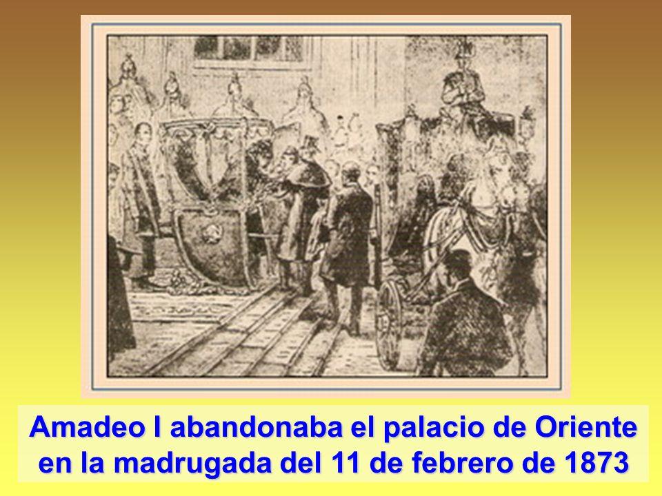 Amadeo I abandonaba el palacio de Oriente en la madrugada del 11 de febrero de 1873