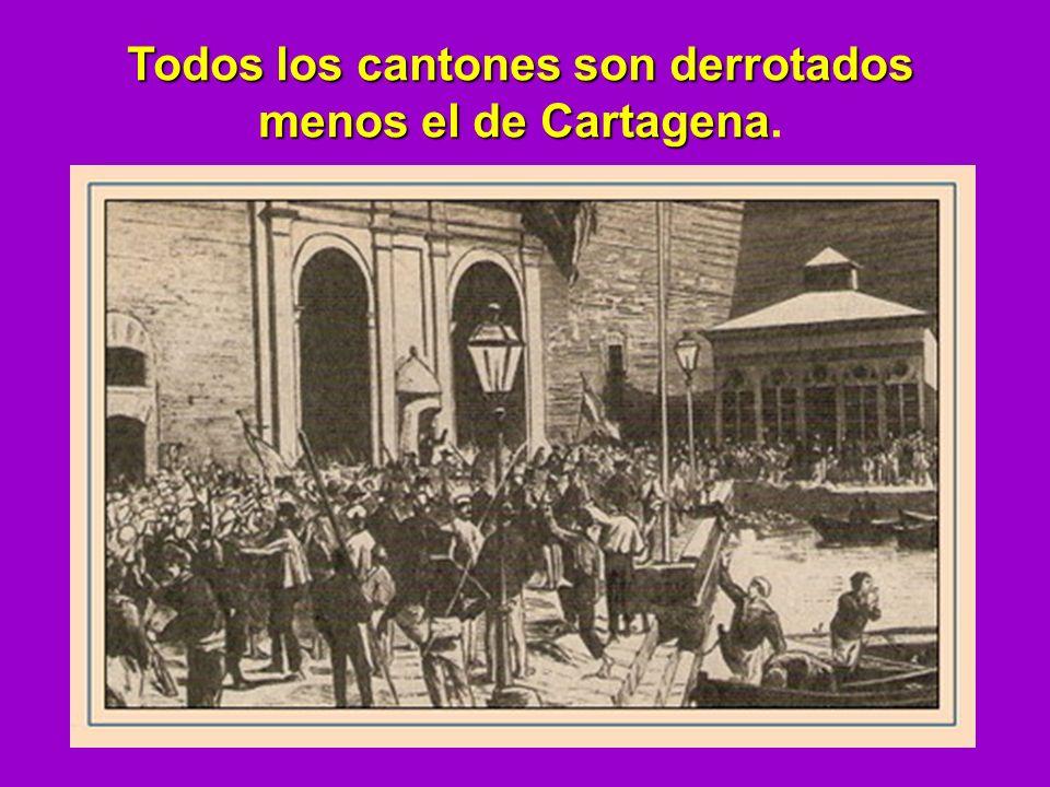 Todos los cantones son derrotados menos el de Cartagena.