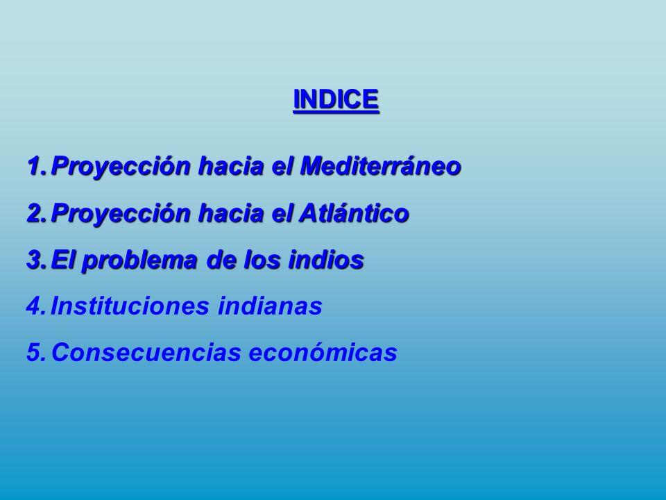 INDICE Proyección hacia el Mediterráneo. Proyección hacia el Atlántico. El problema de los indios.