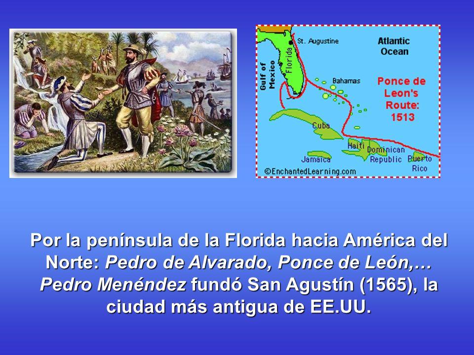 Por la península de la Florida hacia América del Norte: Pedro de Alvarado, Ponce de León,… Pedro Menéndez fundó San Agustín (1565), la ciudad más antigua de EE.UU.