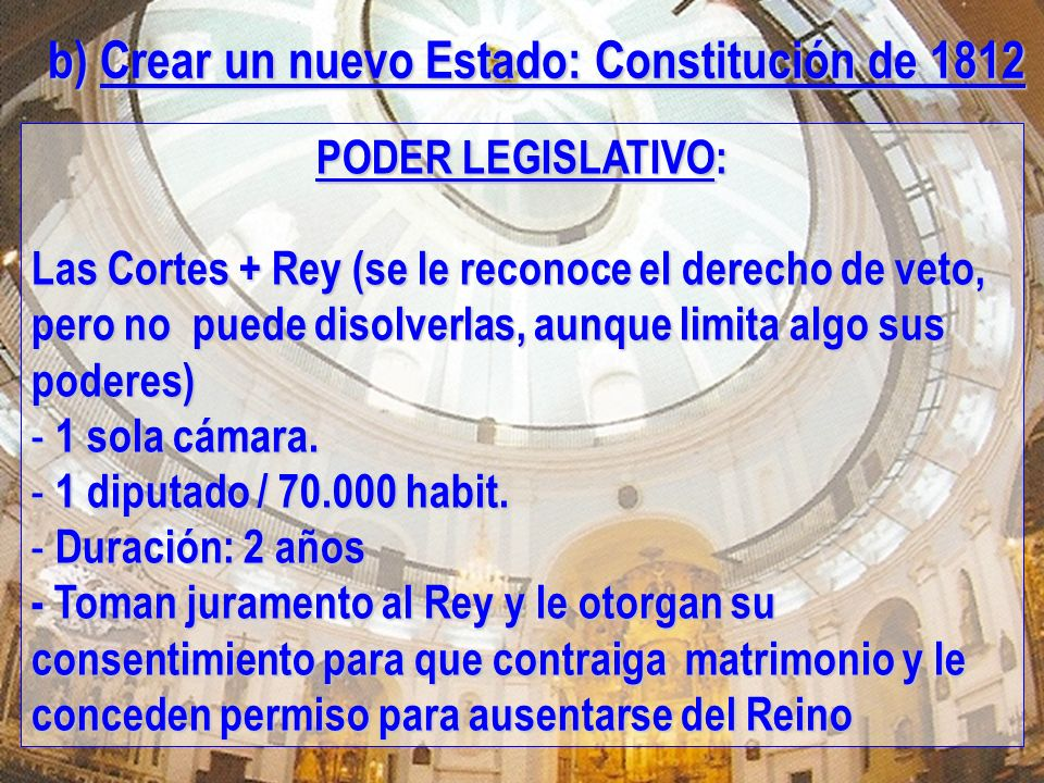 b) Crear un nuevo Estado: Constitución de 1812