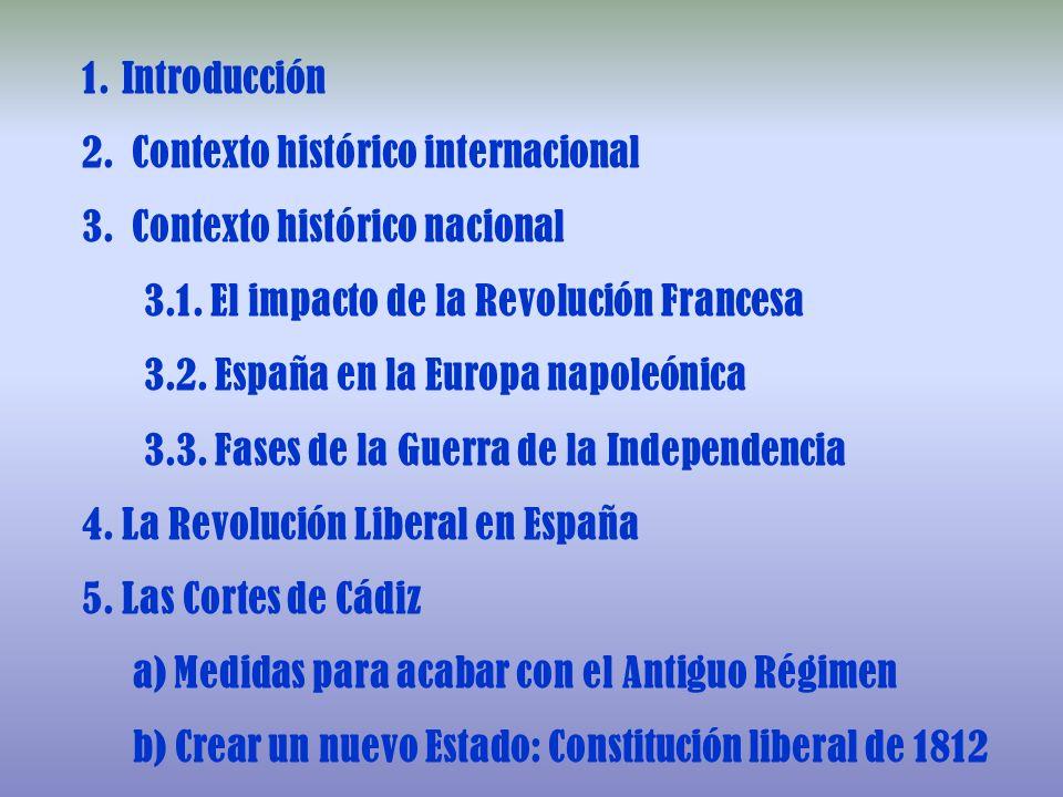 Introducción Contexto histórico internacional. Contexto histórico nacional. 3.1. El impacto de la Revolución Francesa.