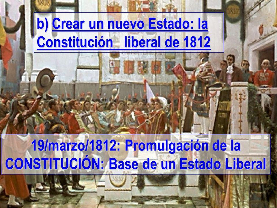 b) Crear un nuevo Estado: la Constitución liberal de 1812