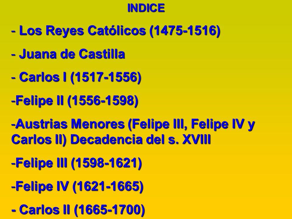 Los Reyes Católicos (1475-1516) Juana de Castilla Carlos I (1517-1556)