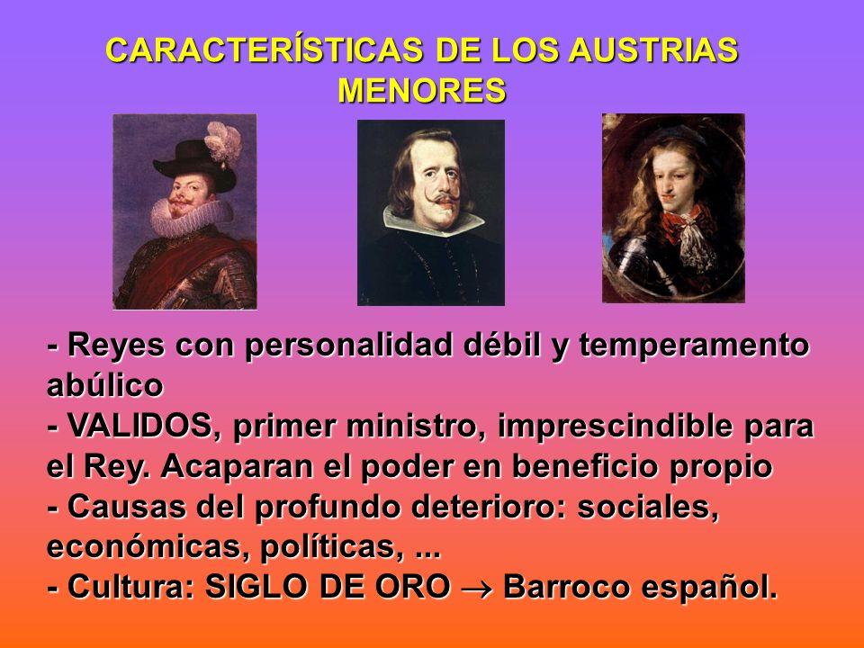 CARACTERÍSTICAS DE LOS AUSTRIAS MENORES