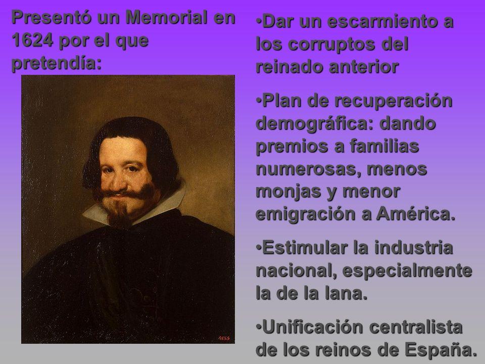 Presentó un Memorial en 1624 por el que pretendía: