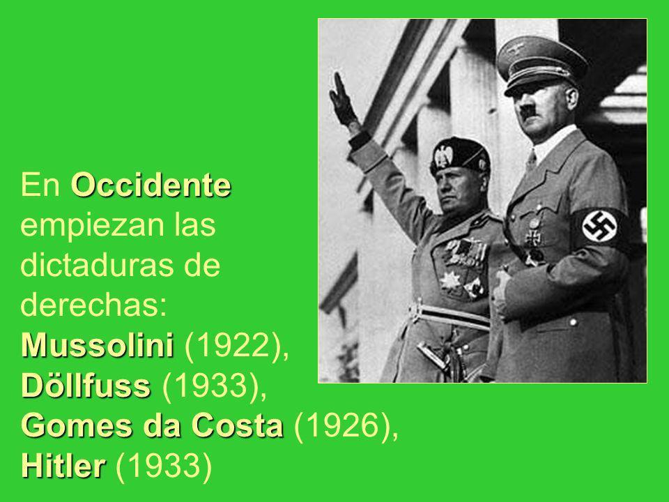 En Occidente empiezan las dictaduras de derechas: Mussolini (1922), Döllfuss (1933), Gomes da Costa (1926), Hitler (1933)