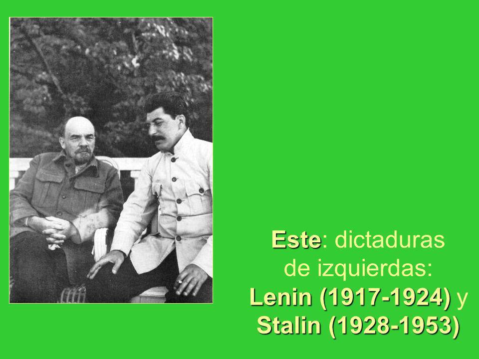 Este: dictaduras de izquierdas: Lenin (1917-1924) y Stalin (1928-1953)