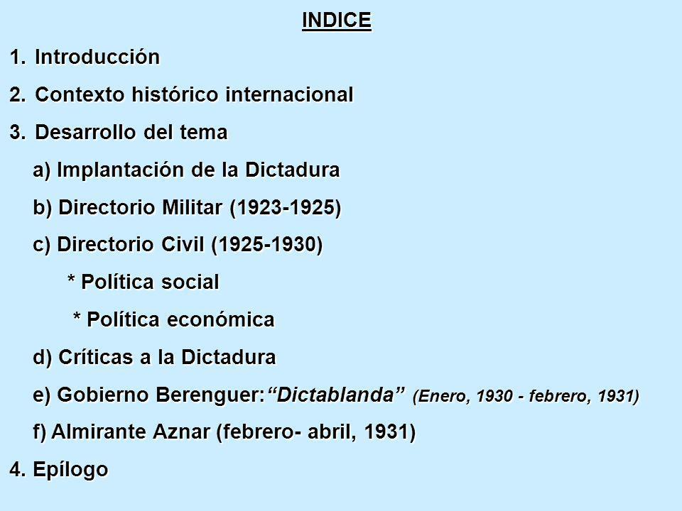 INDICE Introducción. Contexto histórico internacional. Desarrollo del tema. a) Implantación de la Dictadura.