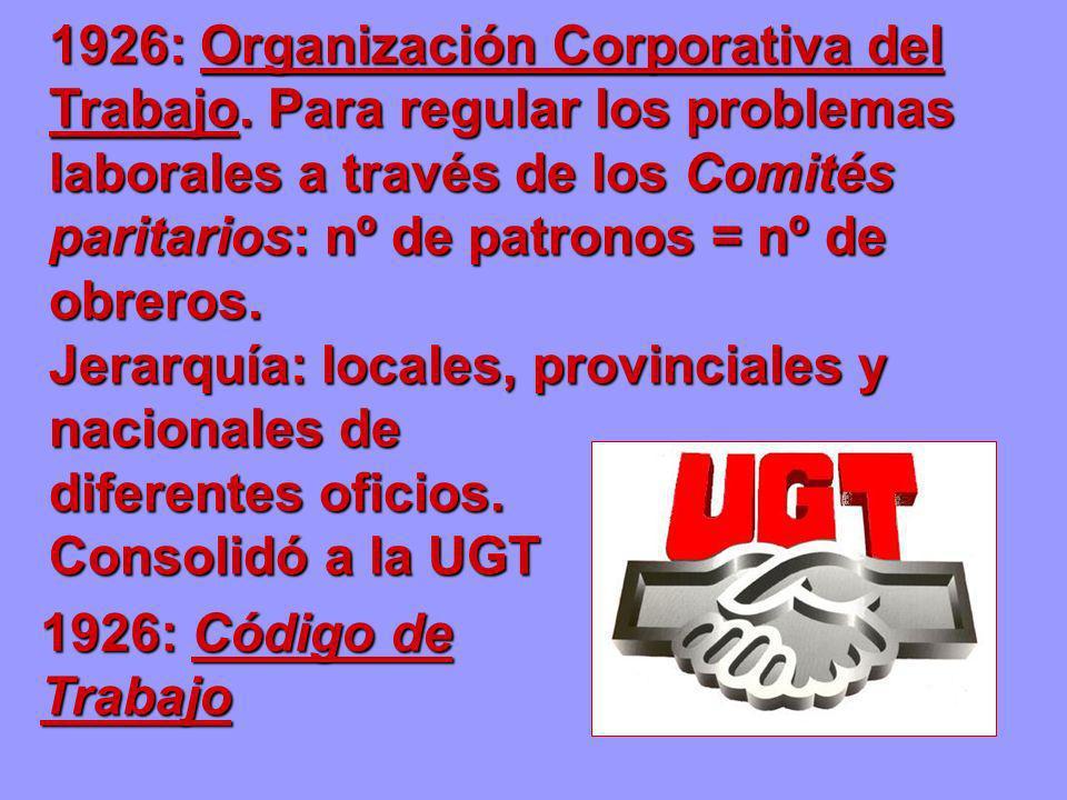 1926: Organización Corporativa del Trabajo