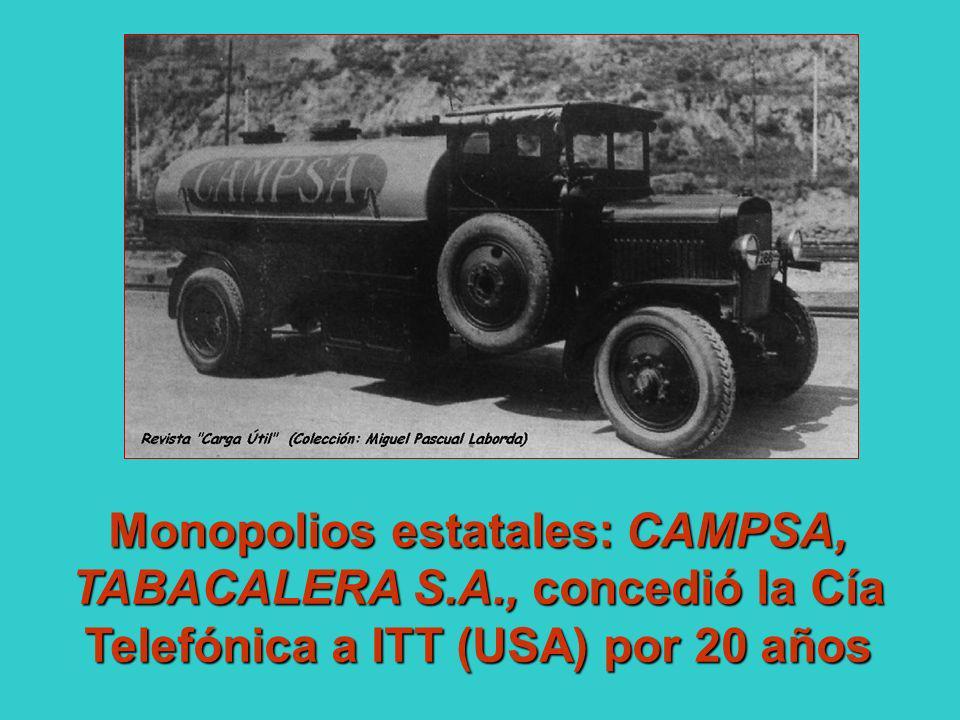 Monopolios estatales: CAMPSA, TABACALERA S. A