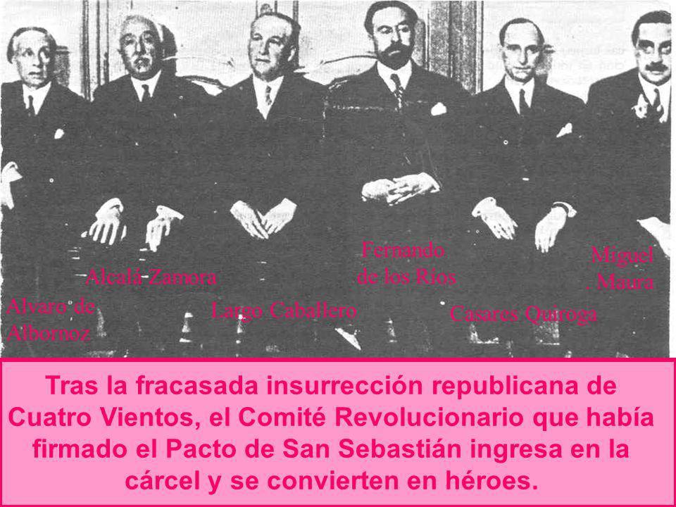 Fernando de los Ríos. Casares Quiroga. Miguel. . Maura. Alcalá Zamora. Alvaro de. Albornoz. Largo Caballero.