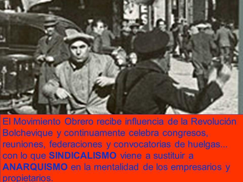 El Movimiento Obrero recibe influencia de la Revolución Bolchevique y continuamente celebra congresos, reuniones, federaciones y convocatorias de huelgas...