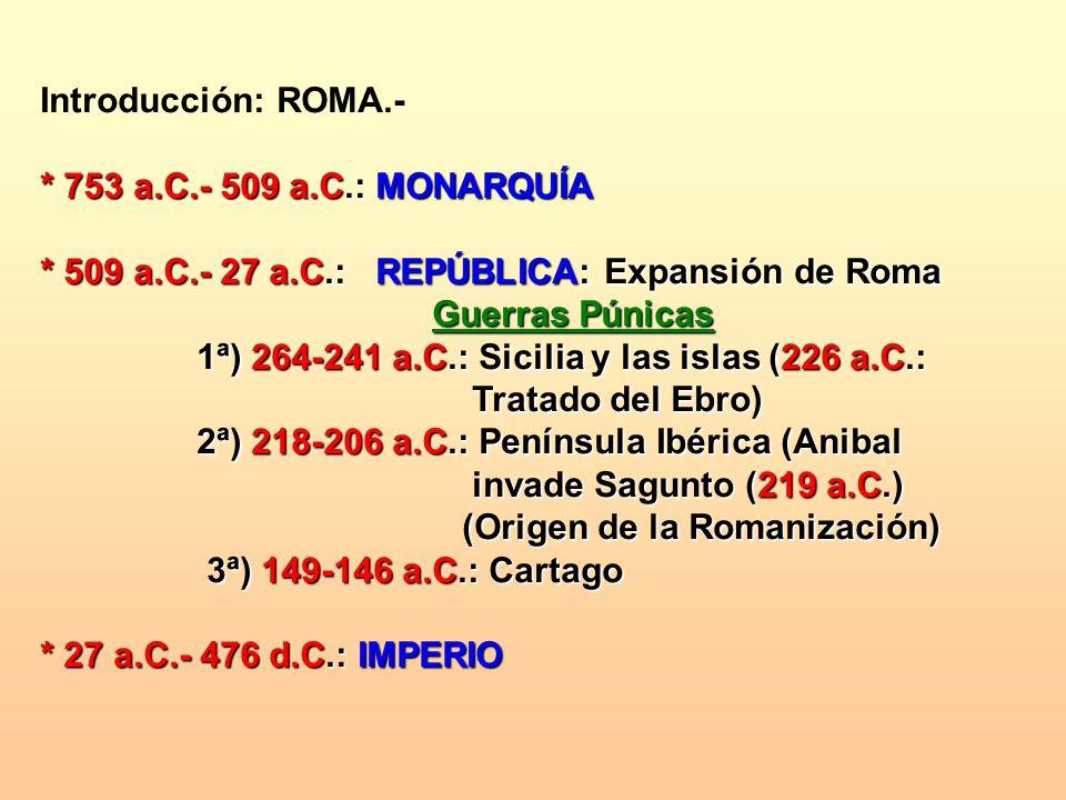 Introducción: ROMA.- * 753 a.C.- 509 a.C.: MONARQUÍA. * 509 a.C.- 27 a.C.: REPÚBLICA: Expansión de Roma.