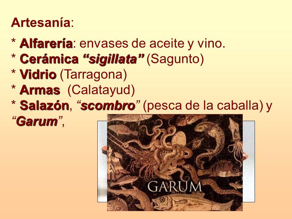 Artesanía: * Alfarería: envases de aceite y vino. * Cerámica sigillata (Sagunto) * Vidrio (Tarragona)
