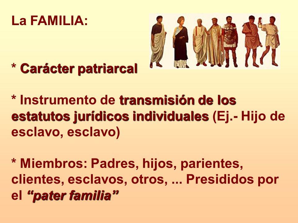 La FAMILIA: * Carácter patriarcal. * Instrumento de transmisión de los estatutos jurídicos individuales (Ej.- Hijo de esclavo, esclavo)